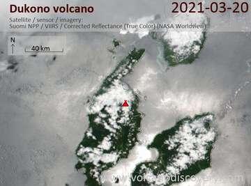Satellite image of Dukono volcano on 20 Mar 2021