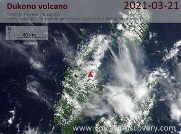 Imagen satelital del volcán Dukono el 21 de marzo de 2021