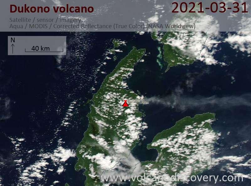 Satellite image of Dukono volcano on 31 Mar 2021
