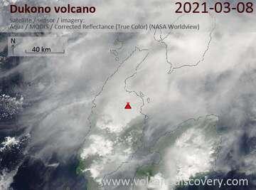 Satellite image of Dukono volcano on  9 Mar 2021