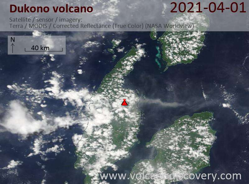 Satellite image of Dukono volcano on  1 Apr 2021