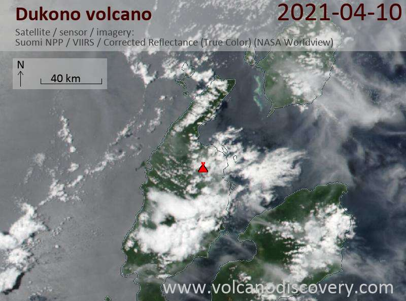 Satellite image of Dukono volcano on 11 Apr 2021