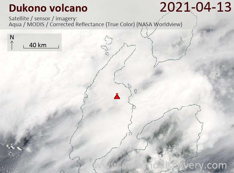 Satellite image of Dukono volcano on 14 Apr 2021