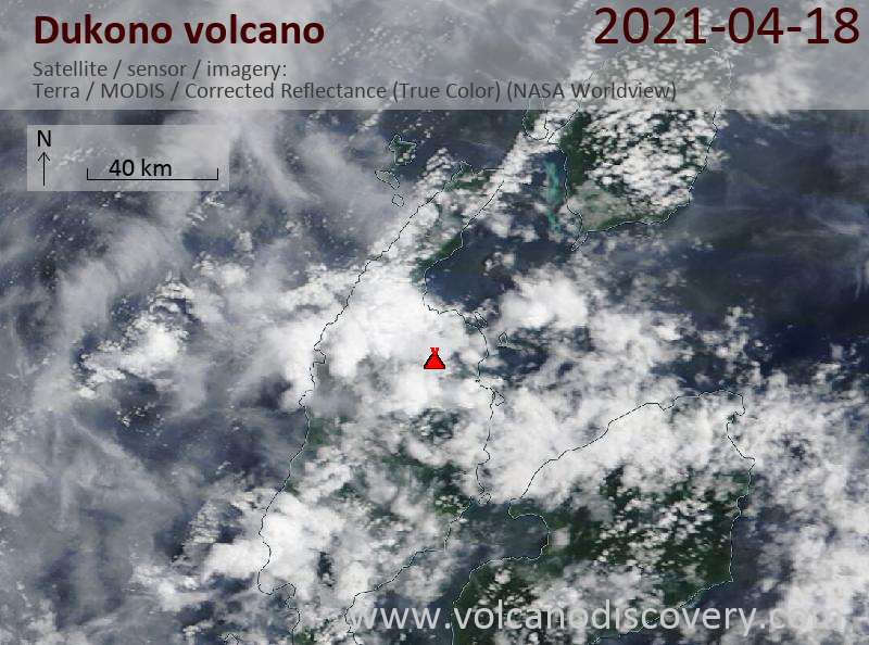 Satellite image of Dukono volcano on 19 Apr 2021