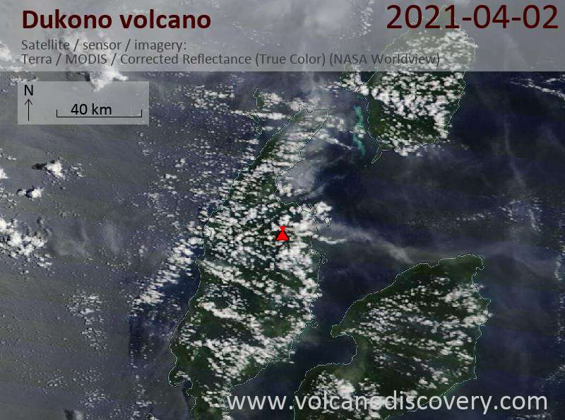 Satellite image of Dukono volcano on  2 Apr 2021