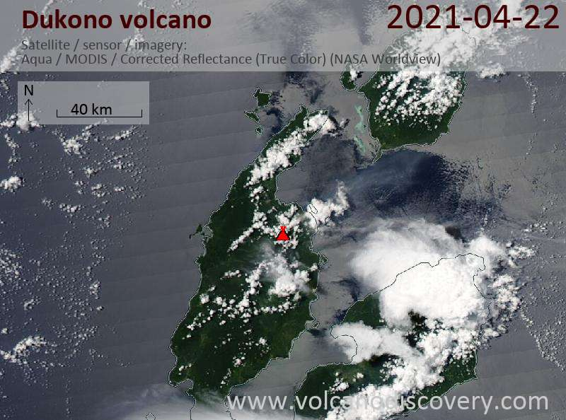 Satellite image of Dukono volcano on 22 Apr 2021
