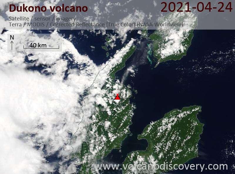 Satellitenbild des Dukono Vulkans am 25 Apr 2021