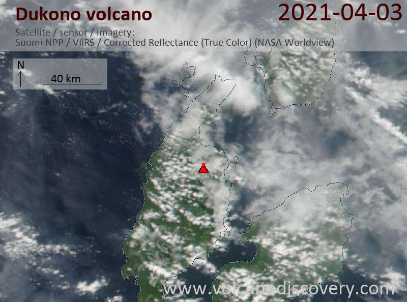 Satellitenbild des Dukono Vulkans am  3 Apr 2021