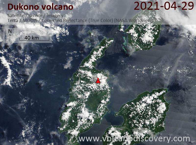 Satellitenbild des Dukono Vulkans am 30 Apr 2021