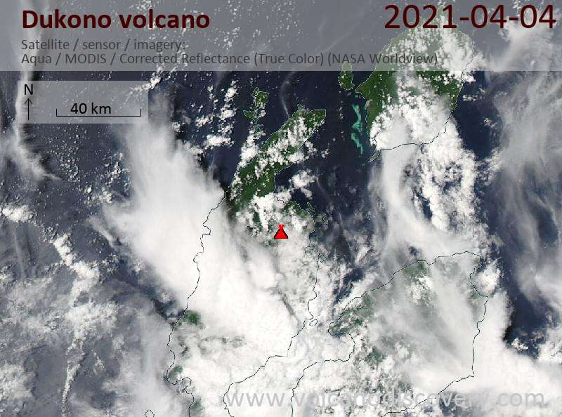 Satellite image of Dukono volcano on  4 Apr 2021