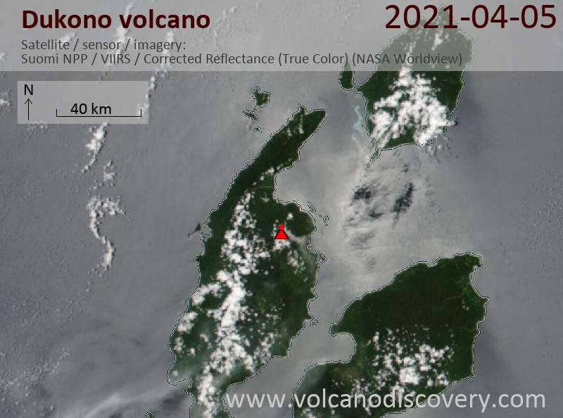 Satellite image of Dukono volcano on  5 Apr 2021