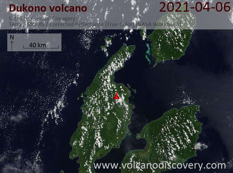 Satellite image of Dukono volcano on  6 Apr 2021