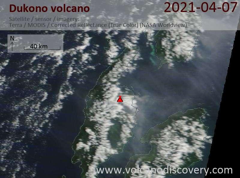 Satellite image of Dukono volcano on  7 Apr 2021