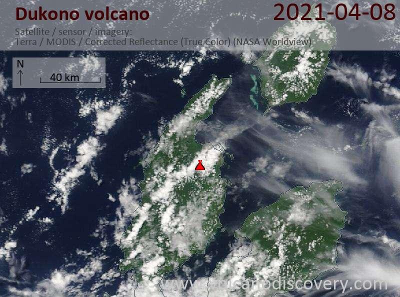 Satellite image of Dukono volcano on  8 Apr 2021