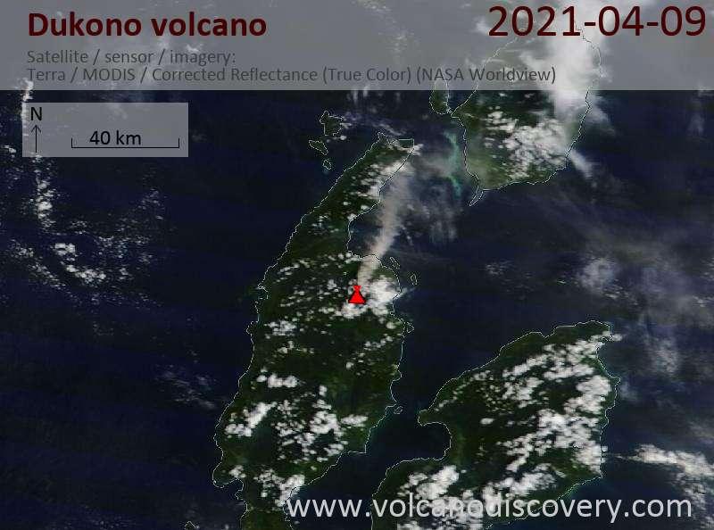 Satellite image of Dukono volcano on  9 Apr 2021