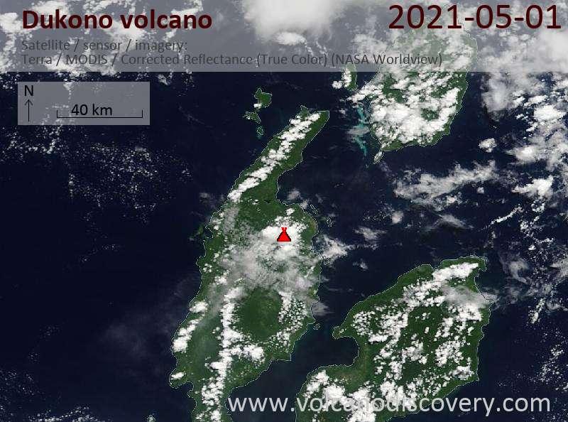 Satellitenbild des Dukono Vulkans am  1 May 2021