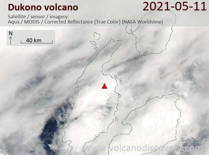 Satellite image of Dukono volcano on 11 May 2021