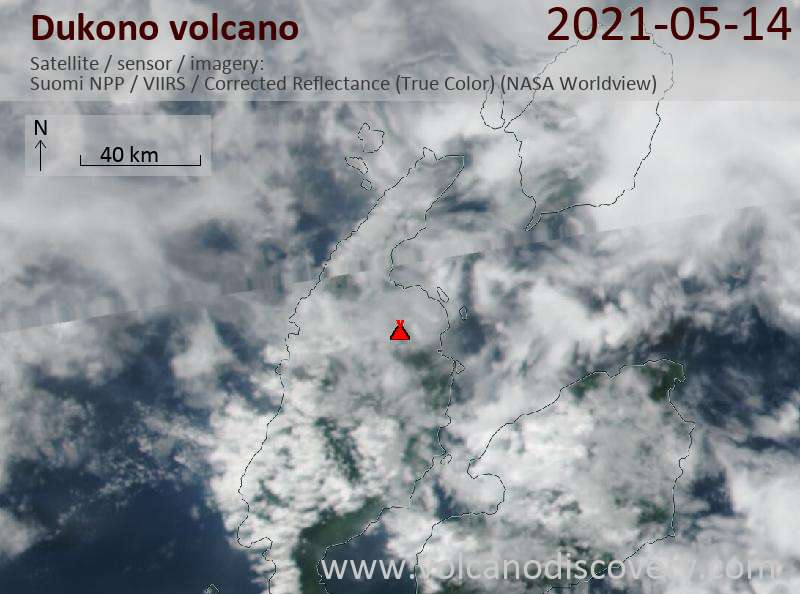 Satellite image of Dukono volcano on 14 May 2021