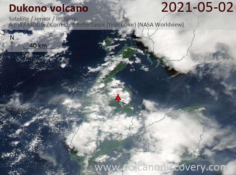 Satellitenbild des Dukono Vulkans am  2 May 2021