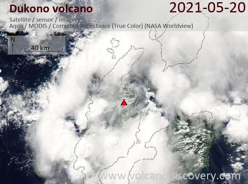 Satellite image of Dukono volcano on 20 May 2021