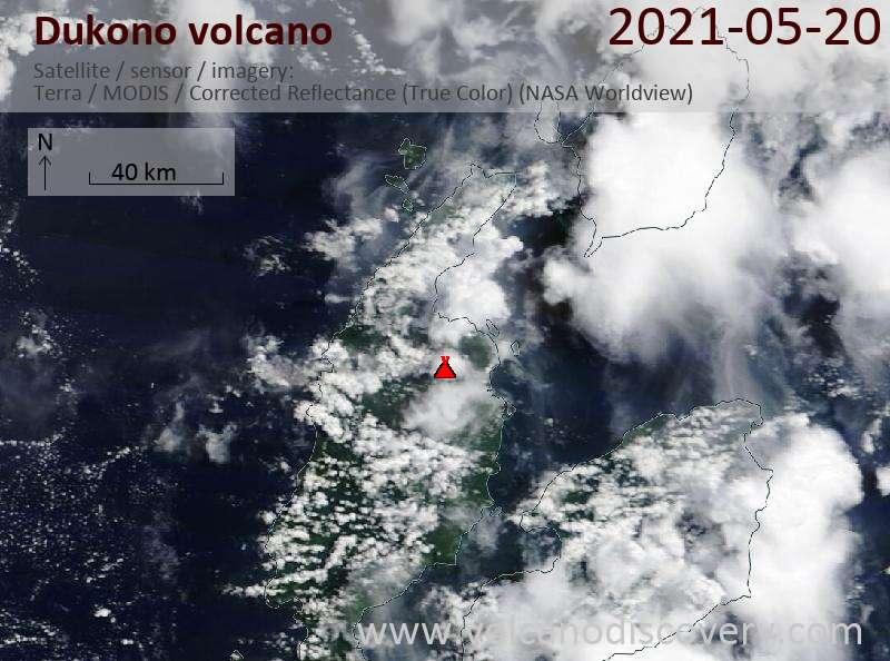 Satellite image of Dukono volcano on 22 May 2021