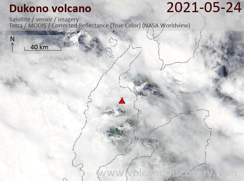 Satellite image of Dukono volcano on 24 May 2021
