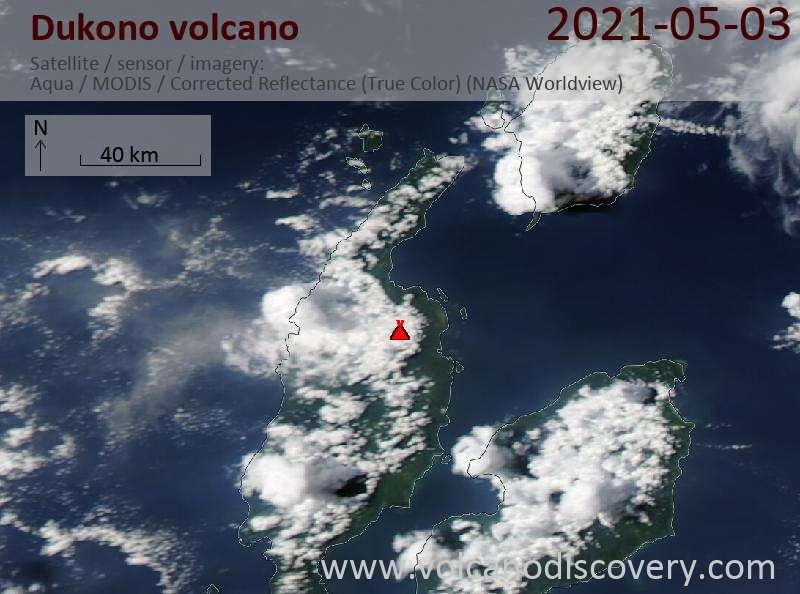 Спутниковое изображение вулкана Dukono  3 May 2021