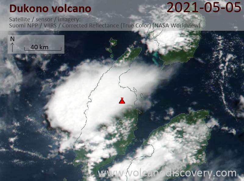 Satellite image of Dukono volcano on  6 May 2021