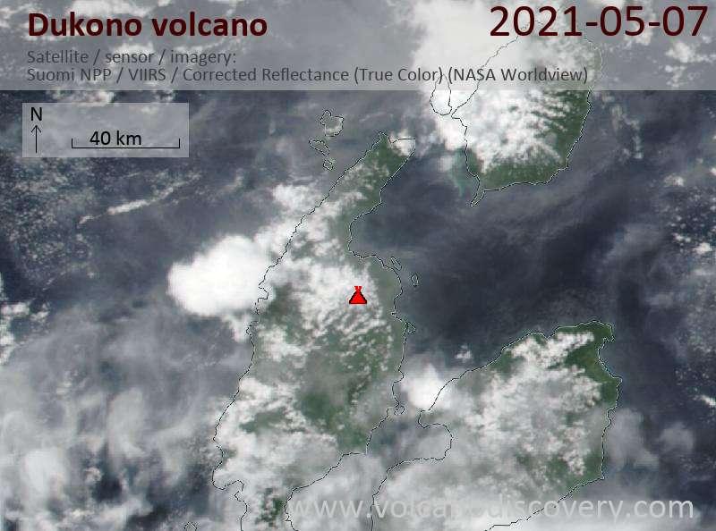 Satellite image of Dukono volcano on  7 May 2021