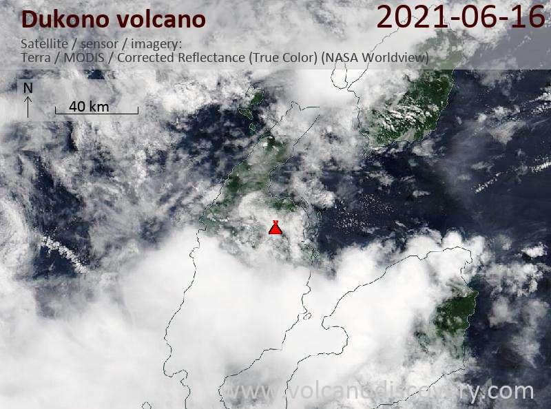 Satellite image of Dukono volcano on 17 Jun 2021