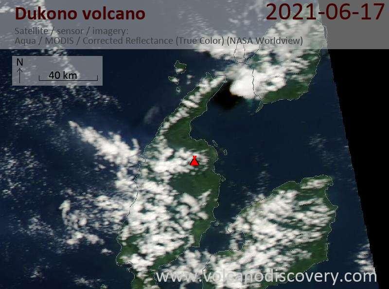 Satellite image of Dukono volcano on 18 Jun 2021