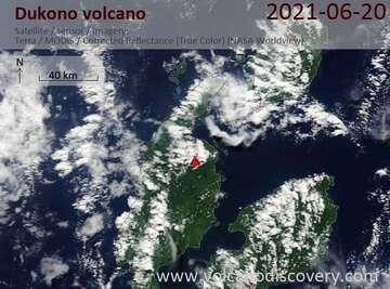 Satellite image of Dukono volcano on 22 Jun 2021