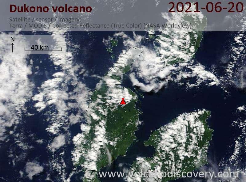 Satellite image of Dukono volcano on 23 Jun 2021