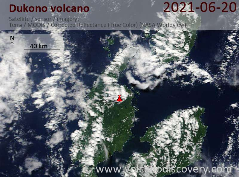 Satellite image of Dukono volcano on 24 Jun 2021