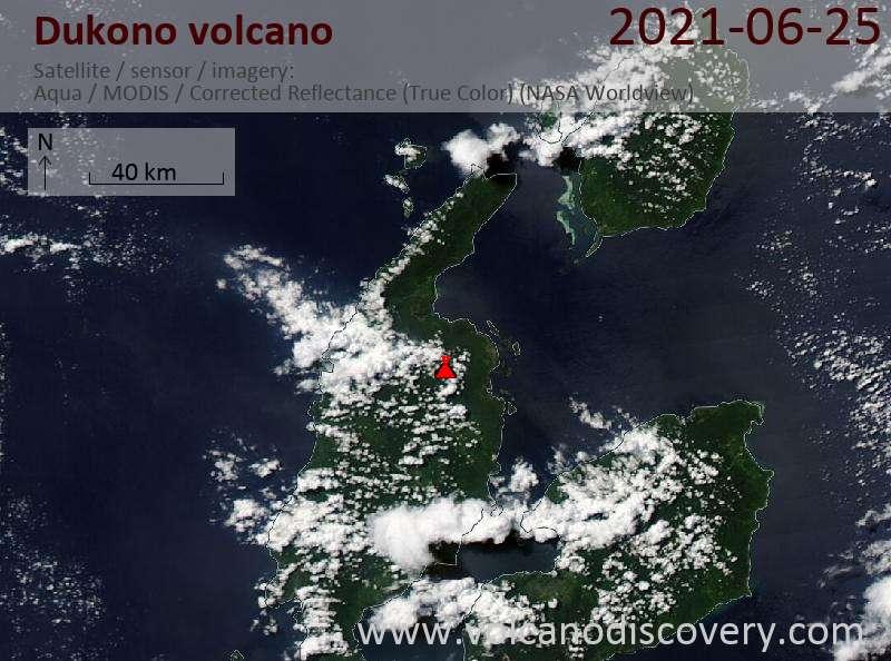 Satellite image of Dukono volcano on 25 Jun 2021