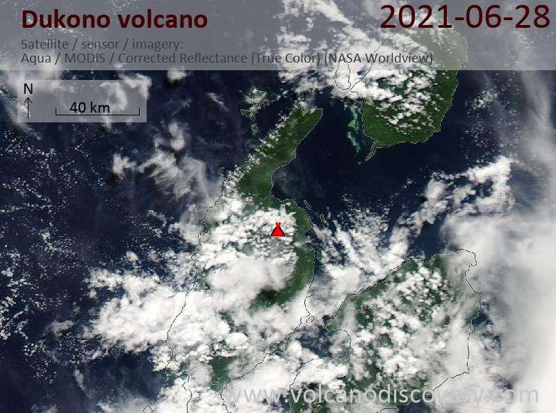 Satellite image of Dukono volcano on 28 Jun 2021