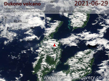 Satellite image of Dukono volcano on 29 Jun 2021