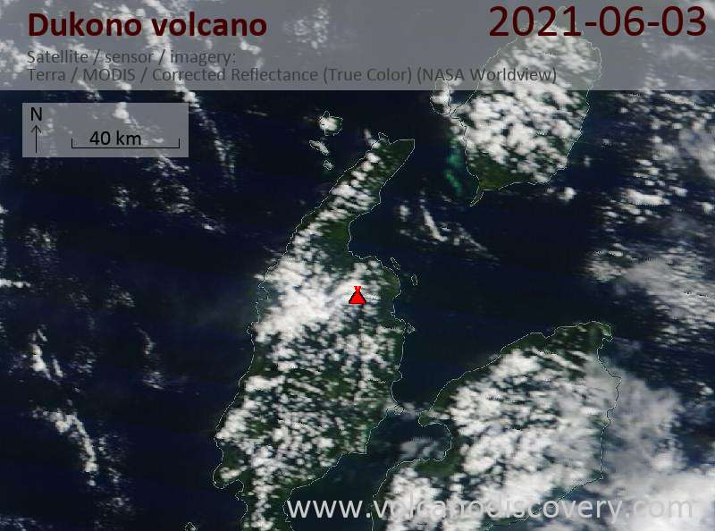 Satellite image of Dukono volcano on  5 Jun 2021