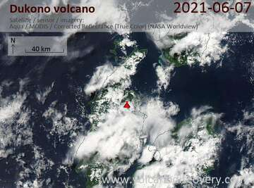 Satellite image of Dukono volcano on  7 Jun 2021