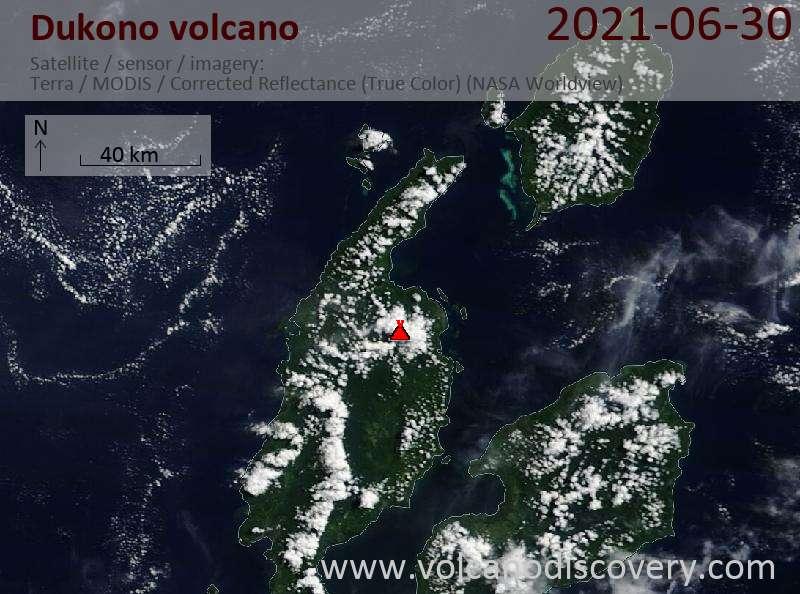 Satellite image of Dukono volcano on  1 Jul 2021