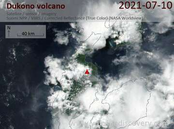 Satellite image of Dukono volcano on 11 Jul 2021