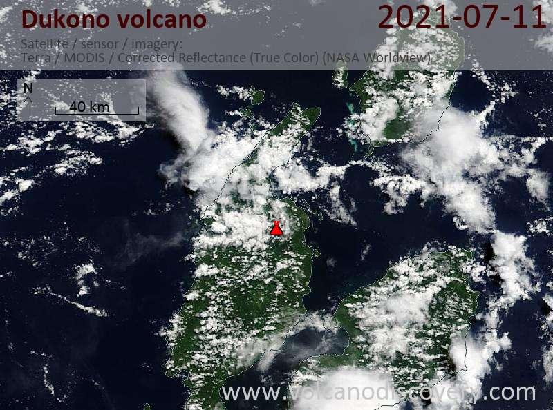 Satellite image of Dukono volcano on 12 Jul 2021