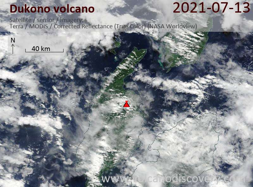 Satellite image of Dukono volcano on 13 Jul 2021
