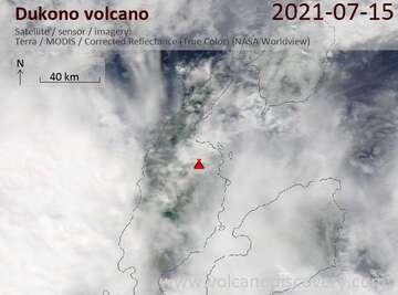Satellite image of Dukono volcano on 15 Jul 2021