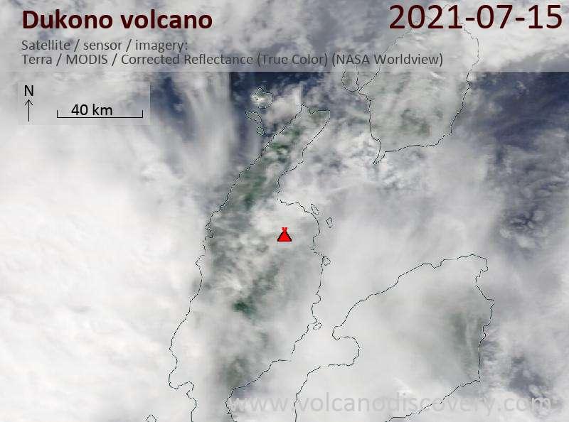 Satellite image of Dukono volcano on 18 Jul 2021