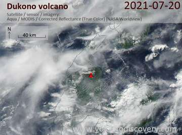 Satellite image of Dukono volcano on 20 Jul 2021