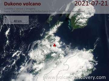 Satellite image of Dukono volcano on 21 Jul 2021