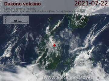 Satellite image of Dukono volcano on 22 Jul 2021