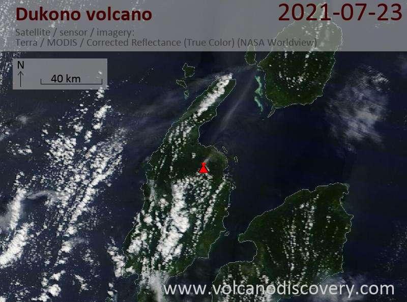 Satellitenbild des Dukono Vulkans am 25 Jul 2021