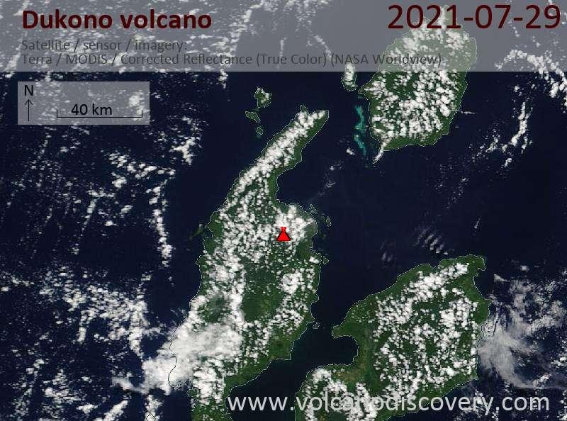 Satellitenbild des Dukono Vulkans am 29 Jul 2021